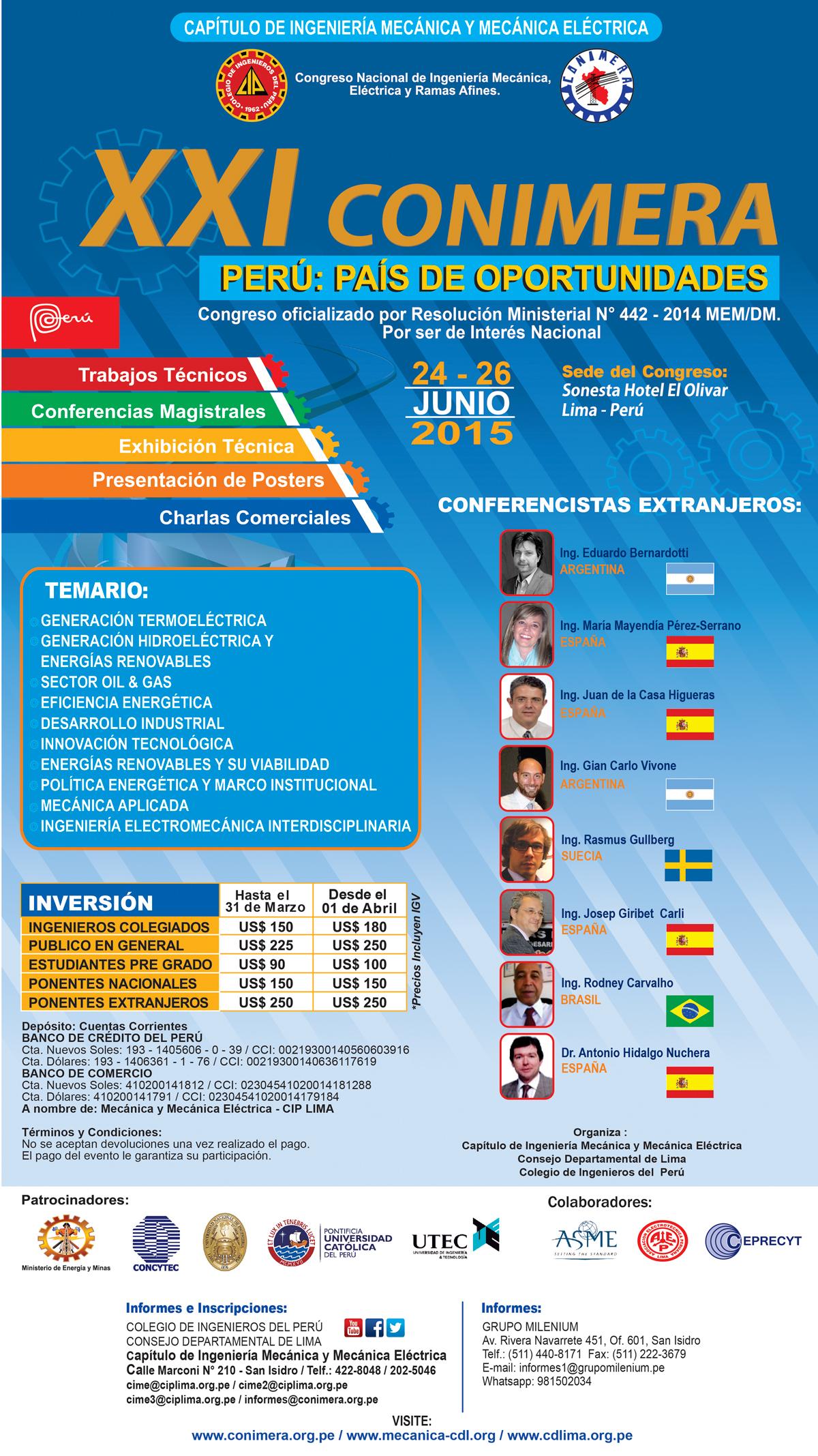 XXI Congreso Nacional de Ingeniería Mecánica y Mecánica Eléctrica